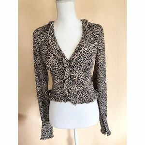 Rare Free People Leopard Blouse